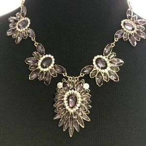 Statement Necklace.Black/White crystals.